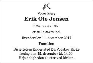 Erik Ole  Jensen Death notice