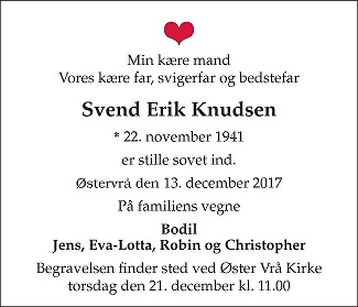 Svend Erik  Knudsen Death notice