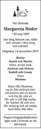 Margareta Heder Death notice