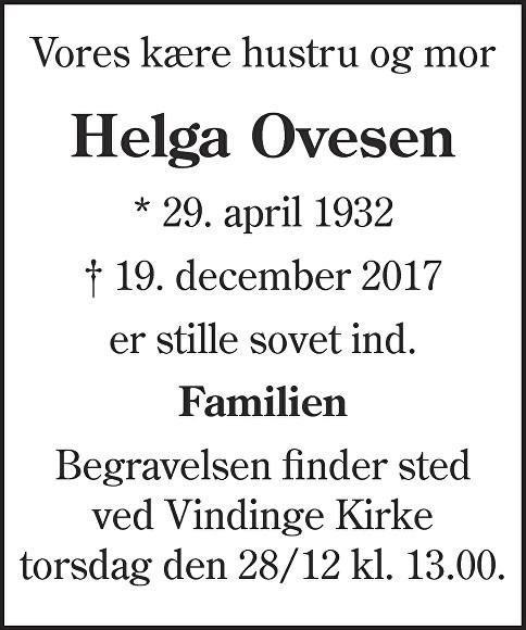 Helga Ovesen Death notice