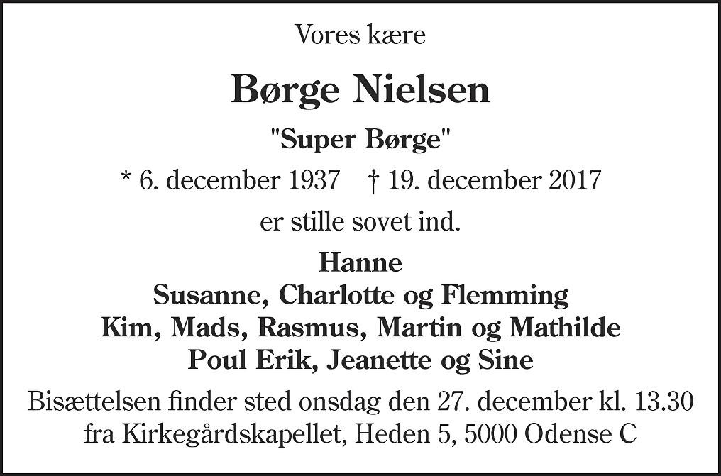 Børge  Nielsen Death notice