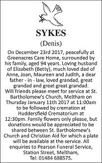 Denis Sykes Death Notice
