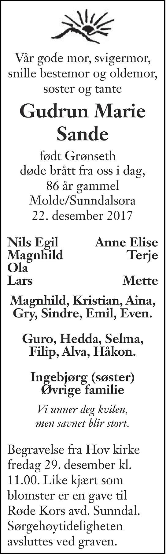 Gudrun Marie Sande Dødsannonse