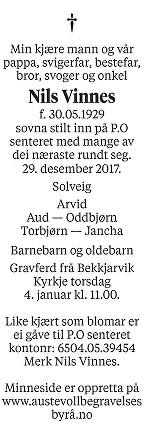 Nils  Vinnes Dødsannonse
