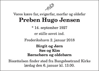 Preben Hugo  Jensen Death notice