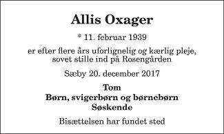 Allis  Oxager Death notice