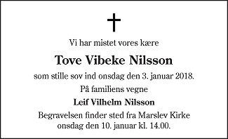 Tove Vibeke  Nilsson Death notice