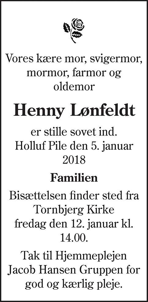 Henny Ruth  Lønfeldt Death notice