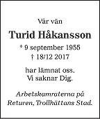 Turid Håkansson Death notice