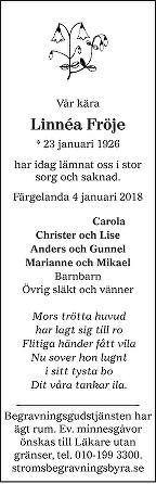 Linnéa Fröje Death notice