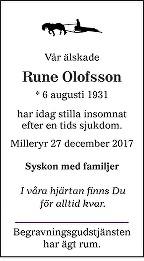 Rune Olofsson Death notice