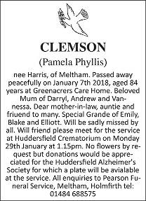 Pamela Phyllis Clemson  Death Notice