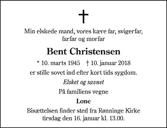 Bent  Christensen Death notice