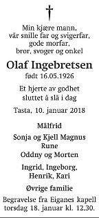 Olaf Ingebretsen Dødsannonse
