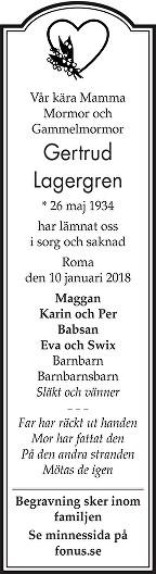 Gertrud Lagergren Dödsannons