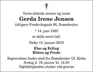 Gerda Irene  Jensen Death notice