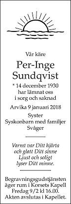 Per Inge Sundqvist Dödsannons