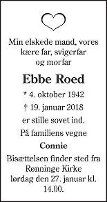 Ebbe  Roed Death notice