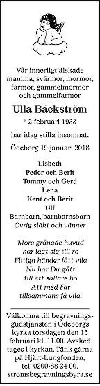 Ulla Bäckström Death notice