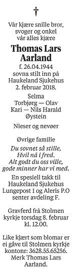 Thomas Lars Aarland Dødsannonse