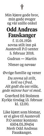 Odd Andreas Fauskanger Dødsannonse