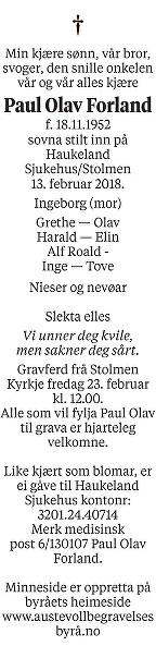 Paul Olav Forland Dødsannonse