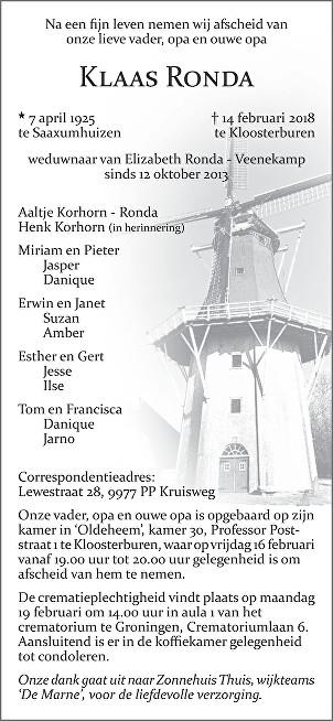Klaas Ronda Death notice
