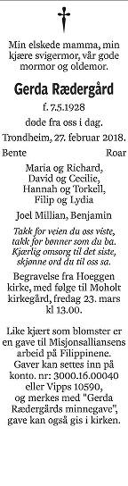 Gerda Rædergård Dødsannonse