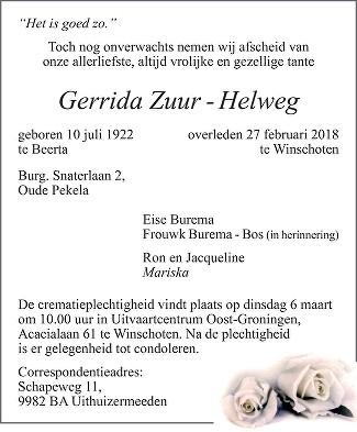 Gerrida Zuur - Helweg Death notice