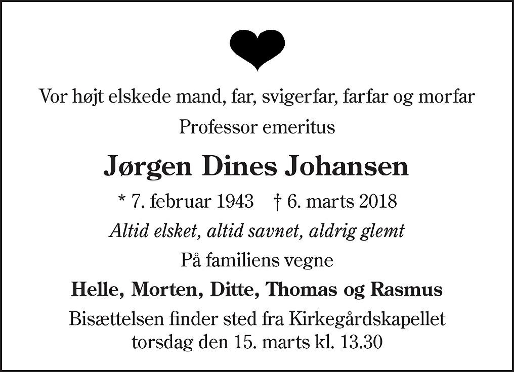 Jørgen Dines  Johansen Death notice