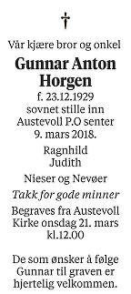 Gunnar Anton Horgen Dødsannonse