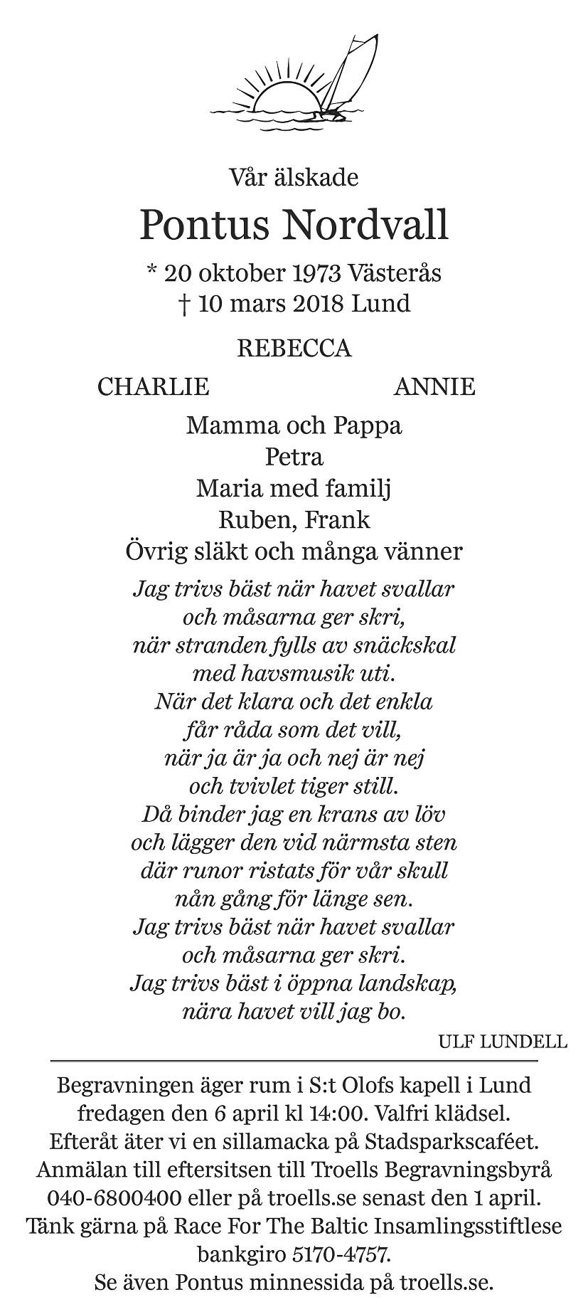 Pontus Nordvall Death notice