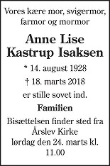 Anne Lise Kastrup  Isaksen Death notice