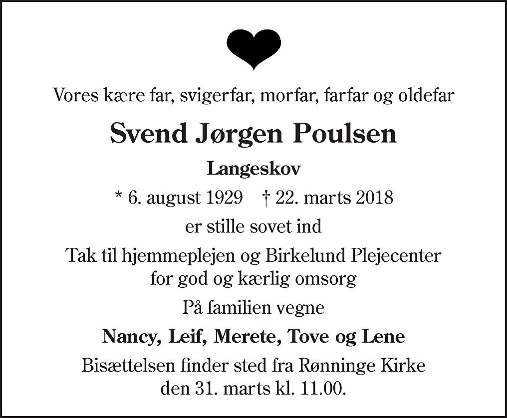 Svend Jørgen  Poulsen Death notice