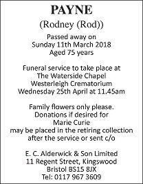 Rodney (Rod) Payne Death notice