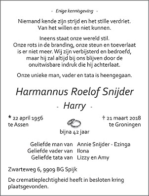 Harmannus Roelof Snijder Death notice