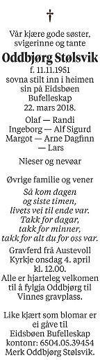 Oddbjørg Stølsvik Dødsannonse
