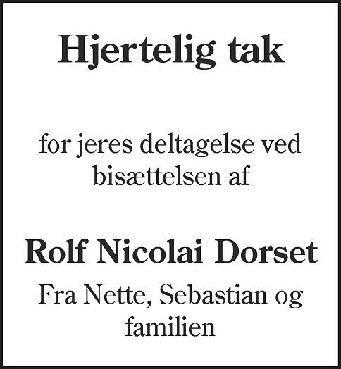 Rolf Nicolai  Dorset Death notice