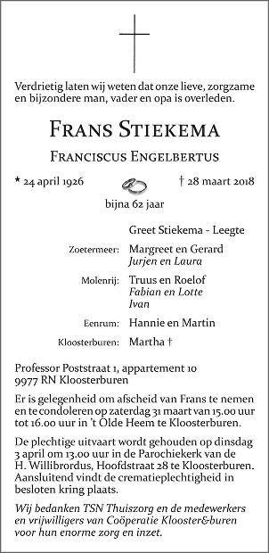Franciscus Engelbertus (Frans) Stiekema Death notice