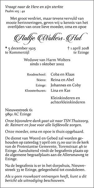 Aaltje Wolters - Hut Death notice