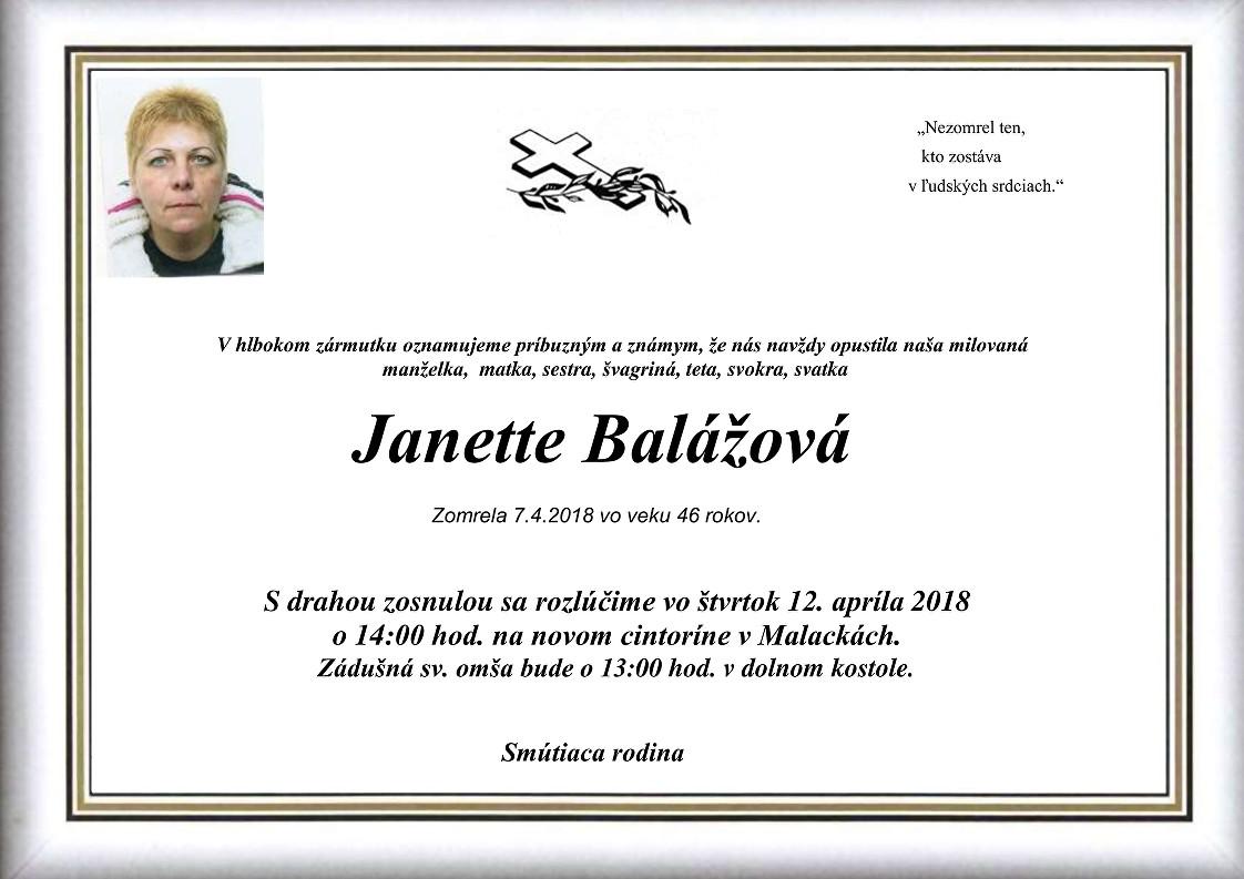 Janette Balážová Parte