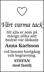 Anna Karlsson Dödsannons
