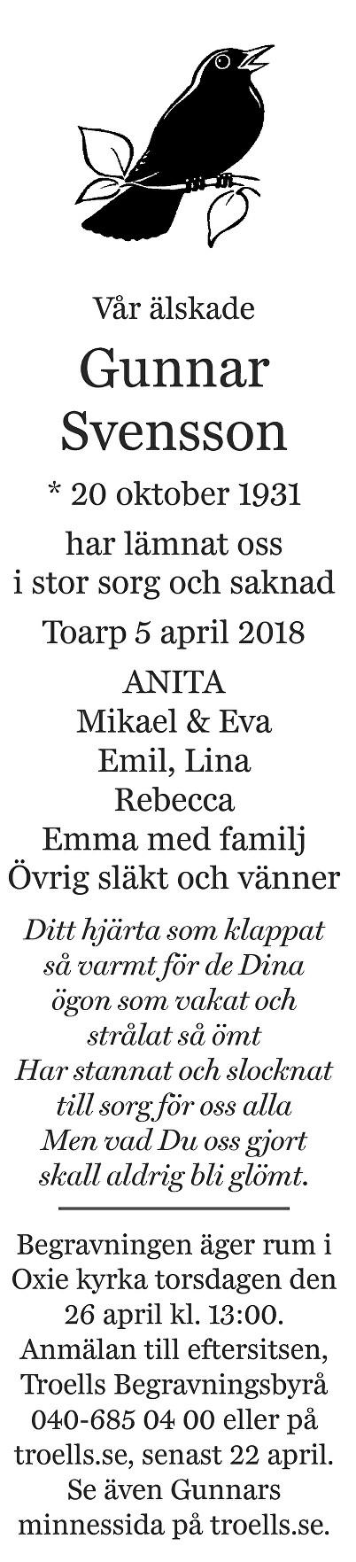 Gunnar Svensson Death notice