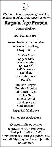 Ragnar Persen Dødsannonse