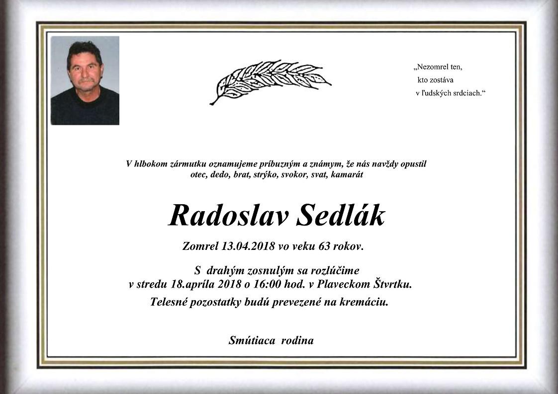 Radoslav Sedlák Parte