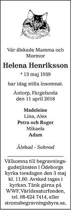 Helena Henriksson Death notice