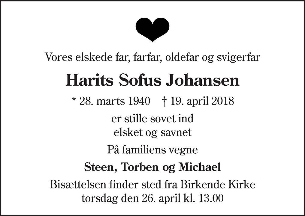 Harits Sofus  Johansen Death notice