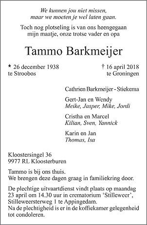 Tammo Barkmeijer Death notice