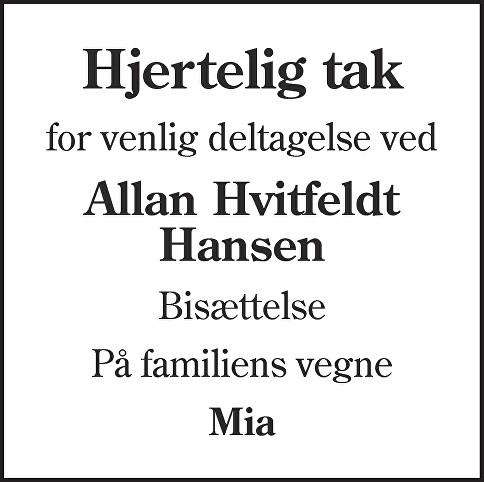 Allan Hvitfeldt  Hansen Death notice