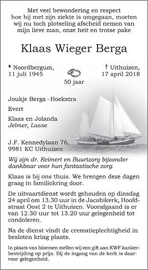 Klaas Wieger Berga Death notice